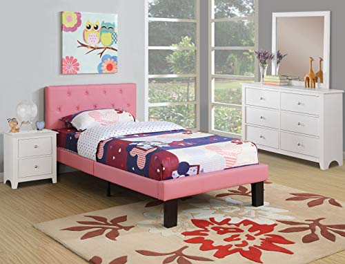 Poundex PU Upholstered Platform Bed, Twin, Pink (Pink Tufted Twin Headboard)