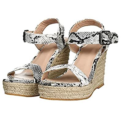 Women Espadrille Wedge Sandal Casual Open Toe Espadrilles Sandals for Summer Green Size: 6.5