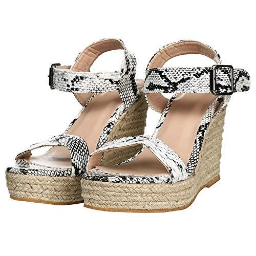 EROUGE Womens Wedge Platform Espadrille Ankle Buckle Open Toe Wedges Heels Sandals Espadrille Wedge(Snakeskin Pattern,7 M US)