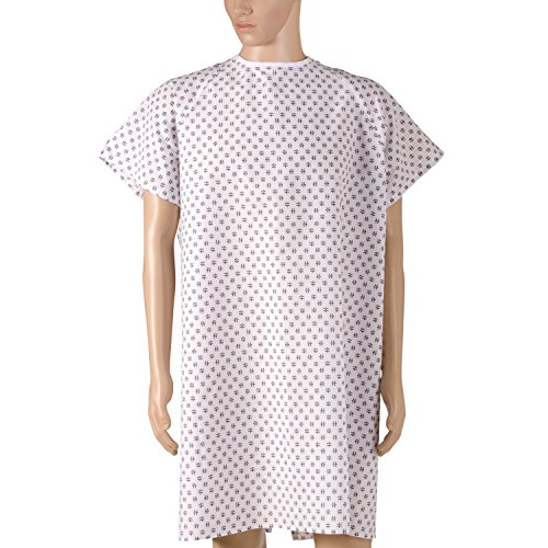 DMI Convalescent Hospital Gown with Back Tie, Machine Washable, Print (Patient Gown Tie)