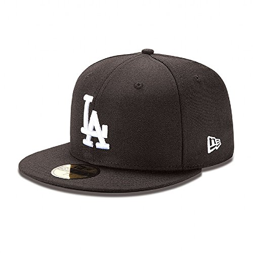 Logo League Fitted Cap 59fifty - MLB Los Angeles Dodgers Black with White 59FIFTY Fitted Cap, 7 1/2
