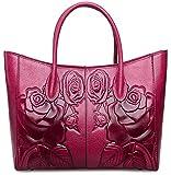 PIJUSHI Designer Women's Floral Leather Tote Shoulder Handbags 65307 (one size, purple)