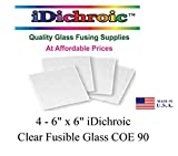 6 inch Fusible Clear Glass Squares COE90- 4 Pack