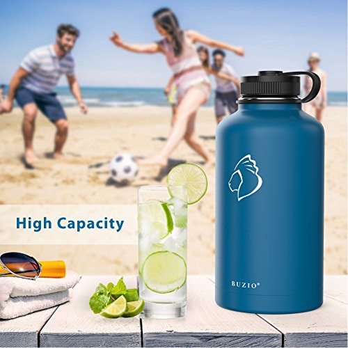BUZIO Stainless Steel Water Bottle (Cold 48 Hrs, Hot 24 Hrs), 64 oz Vacuum Insulated Water Bottle Straw Lid Flex Cap (Double Wall, Wide Mouth, BPA Free, Leak Proof, Sweat Free) by BUZIO (Image #6)