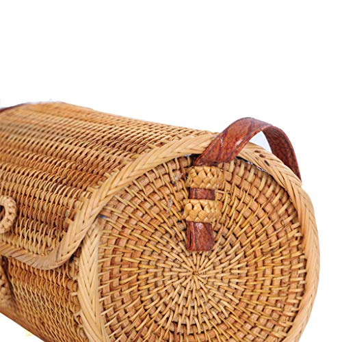 Women's Bag, Rattan Bag - Cylindrical - Slung - Beach Bag - Flower Lining - Retro Travel Bag by BHM (Image #5)
