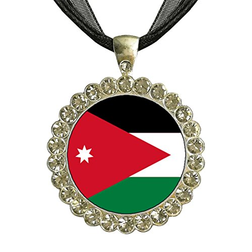 GiftJewelryShop Silver Plate Jordan flag White Crystal Charm Pendant Necklace by GiftJewelryShop