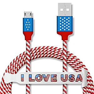 Micro USB Cable CSHope US American Flag Designed 5ft Nylon Braided Micro USB Charging and Data Sync Cable with Reversible Use Connector for Android Port - 1pc Flag Design Color