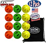 WIFFLE Balls Yellow, Green & Orange Official Size Baseballs Matty's Toy Stop Set Bundle with Storage Bag - 12 Pack (4 Yellow, 4 Green & 4 Orange)