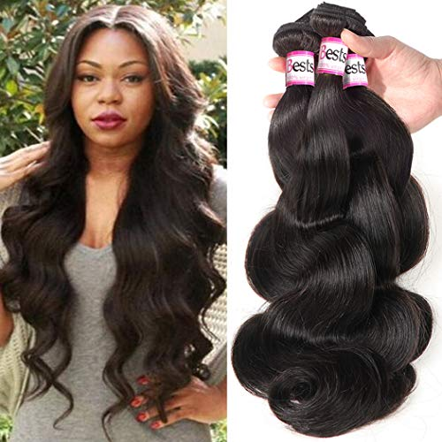 Bestsojoy Hair Brazilian Virgin Human Hair Weave Body Wave 3 Bundles Unprocessed Remy Hair Extensions Natural Color 95-100g/pc 8A (18 20 22)