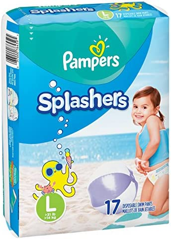 Swim Diapers Size 5 (> 31 lb) - Pampers Splashers Disposable Swim Pants Large Pack of 2 (Twinpack) 17 Count