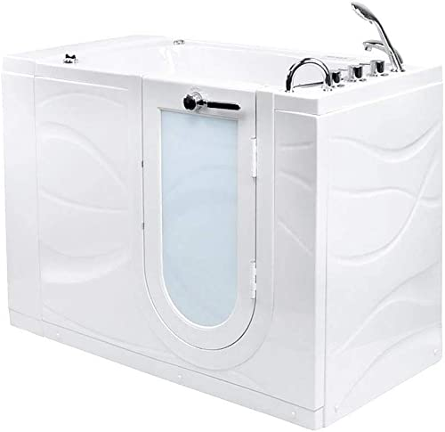 Ella s Bubbles OAZ3052DH-R-D Ella Zen 30 x 52 Air and Hydro Massage with Heated Seat and Digital Control Acrylic Walk-In Bathtub, Right Outward Swing Door, 2 Dual Drain, White