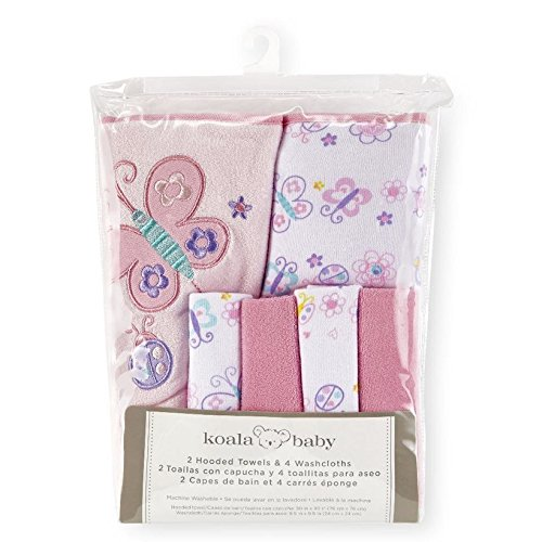 Amazon.com : Koala Baby Girls Pink Butterfly 2 Pack Towel and 4 Pack Washcloth Set : Baby