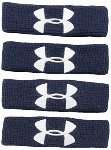 "(Under Armour 1"" Performance Wristband 4-Pack, Midnight Navy (410)/White, One Size)"