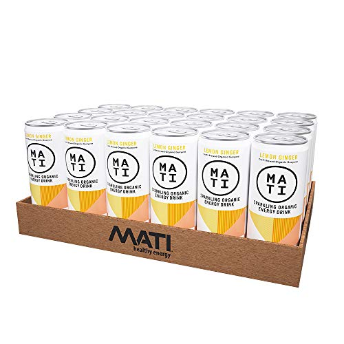 MATI Sparkling Organic Energy Drink, All Natural Craft Brewed Guayusa, 0 Calorie, 0 Sugar, Lemon Ginger, 12 Fl Oz Cans (Pack of 24)