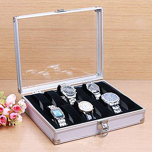 M.M.A 6/12 Grid Slots Watch Box Convenient Light Watch Winder Jewelry Wrist Watches Case Holder Display Storage Box Aluminium Organizer (12Grids)
