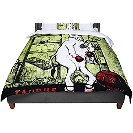 KESS InHouse Theresa Giolzetti Taurus Green White Twin Comforter 68 X 88