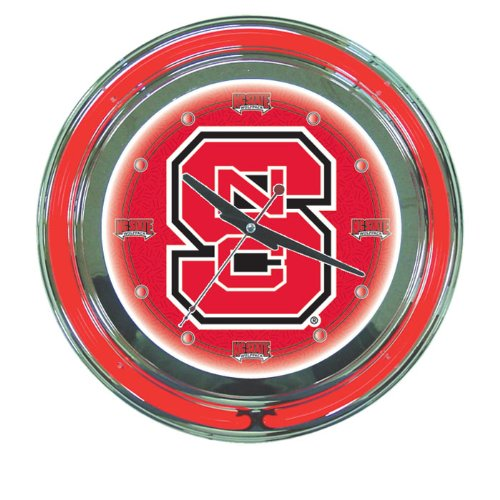 NCAA North Carolina State University Chrome Double Ring Neon Clock, - University Neon State Clock