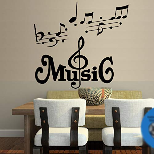 CHRIS Music Wall Decal Quote Home Decor Art Quote Decals Wall Art Stickers Music Musical Notes Removable Vinyl Wall Decal Home Décor Large