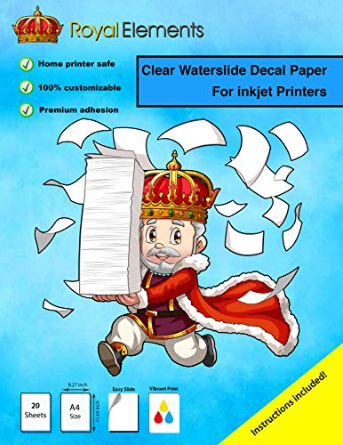 - Royal Elements Waterslide Decal Paper - Clear for Inkjet Printers - 20 Sheets