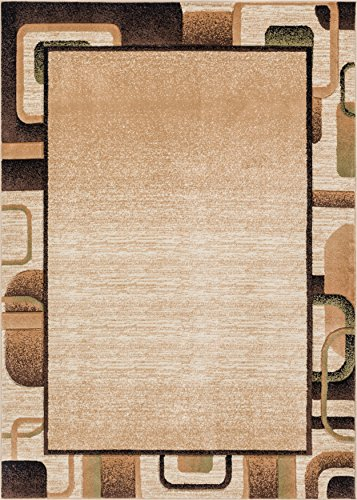 Well Woven Salotto Beige Geometric Border Hand Carved Modern Area Rug 3 x 5 (3'3