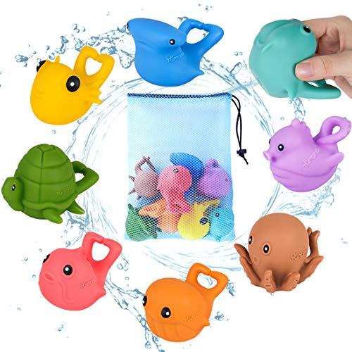 TUMAMA Baby Bath Toys,Fun Bath Time Tub Toys with 8PCS Ocean Animals Bath Toys Set +1x Mesh Bath Toy Organizer,Floating Baby Water Toys,Fun Shower Toys for Toddlers, Girls, -