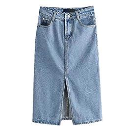 Aierwen Women High Waisted Denim Skirt Split Midi Jeans Skirts Light Denim Skirts