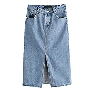 a4e19d66cc Aierwen Women High Waisted Denim Skirt Split Midi Jeans Skirts Light Denim  Skirts