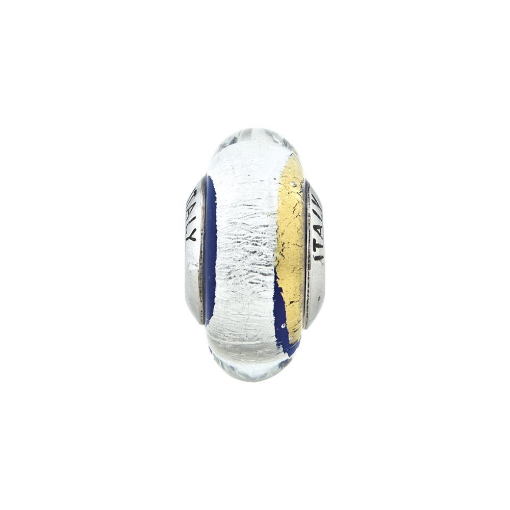 7.3mm x 13.6mm Solid 925 Sterling Silver Reflections Blue//Gold-Tone//Silver Italian Murano Bead
