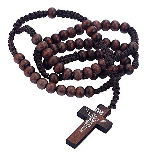 Wooden Bead Rosary Necklace Cross Crucifix Catholic Prayer JESUS for Men (Rosary Prayer Beads Jewelry Crucifix)