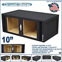 10 Dual Vented Solobaric Slot Ported Sub Box Tuned-34Hz 2.78cu.ft. MDF Subwoofer Enclosure