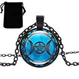 Voberry- Fashion Necklace Moon Goddess Necklace Locket Necklace Fashion Jewelry for Women and Men (Blue)