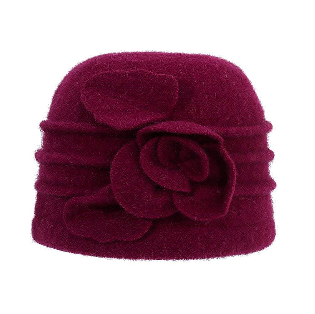 Yixda Damen Warme Barett Cap Elegant Winterm/ütze Wolle Cloche Trilby Hut