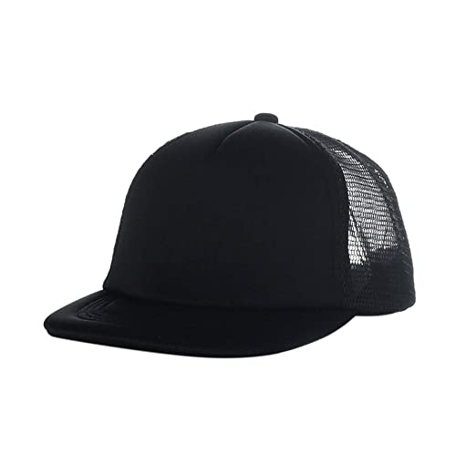 4e3d15e41752e4 Opromo Blank Kids Two Tone Flat Bill Mesh Trucker Cap, Adjustable Hiphop  Hat-Black