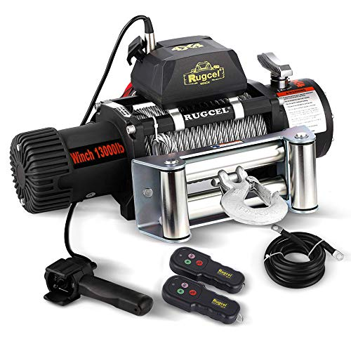 RUGCEL WINCH Waterproof IP68 Electric Winch with Hawse Fairlead,Steel Wire Rope, 2 Wired Handle and 2 Wireless Remote (13000 lb.Load - Large Winch