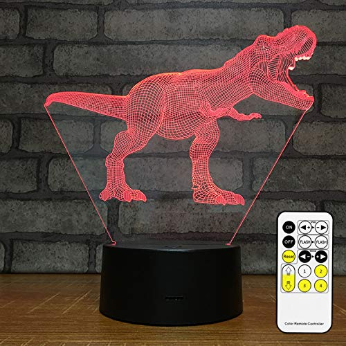 MH Zone 3D Night Light, Dinosaur Kids Night Lights Bedside Lamp 7 Colors with Smart Touch Changing Remote Control, The for Kids Women Girls Boys (Dinosaur T-Rex)