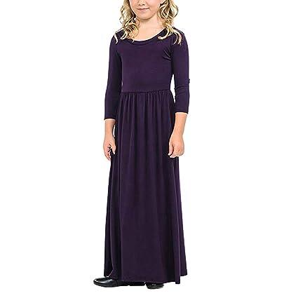 6cd3d547835f0 女の子 ワンピース Timsa 子供ドレス 女の子 キッズ ロングスカート 可愛い Aライン 長袖 洋服 無地 女児