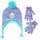 Disney Girls' Little Frozen Elsa Hat and Gloves Cold Weather Set, Purple/Blue, Age 4-7