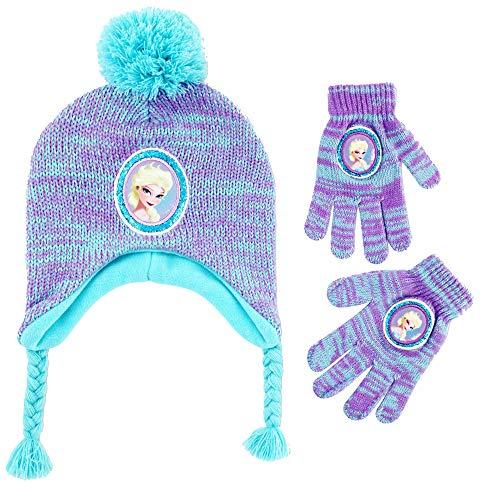 Disney Girls Little Frozen Elsa Hat and Gloves Cold Weather Set, Purple/Blue, Age 4-7