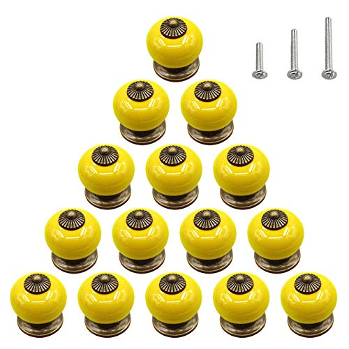 - 15PCS Yellow Ceramic Knobs Glossy Round Bead Dresser Cabinet Pulls Kid Cupboard Wardrobe Drawer Door Handles,Diameter 1.34 inch (34mm)