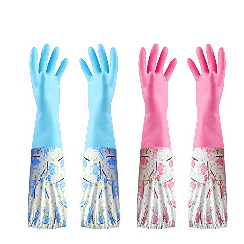 Reusable 2 Pairs Rubber Cleaning Gloves, Household Flock Lined Dishwashing Gloves, Non-Slip Waterproof Kitchen Latex Gloves(Contain - Lined Print Gloves