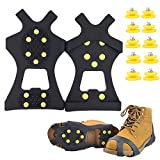 Fiersh Ice Cleats - Snow Grips Crampons Anti-Slip Traction Cleats Ice & Snow Grippers Shoes Boots - 10 Steel Studs Slip-on Stretch Footwear Women Men Kids (Extra 10 Studs) (Large)