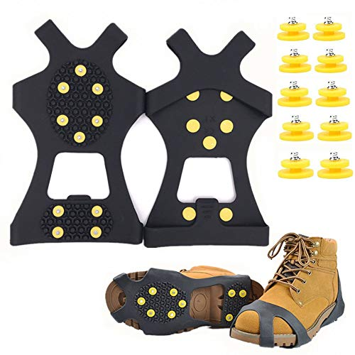Fiersh Ice Cleats - Snow Grips Crampons Anti-Slip Traction Cleats Ice & Snow Grippers Shoes Boots - 10 Steel Studs Slip-on Stretch Footwear Women Men Kids (Extra 10 Studs) (Medium)