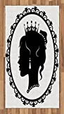 Lunarable Princess Area Rug, Antique Victorian Picture Frame Black Silhouette Noble Lady Woman Accessories, Flat Woven Accent Rug for Living Room Bedroom Dining Room, 2.6 x 5 FT, Black White