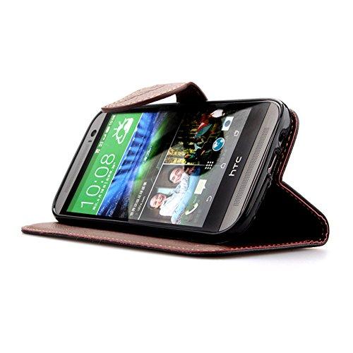 Funda Piel con Tapa para HTC One M8,Flip Fina Case de Cuero Billetera para HTC One M8, TOCASO Personalizada Completa Wallet Ultra Slim Cartera Carcasa Sólido Colored Flor Cover, Magnet Hoja del Arbol  Negro