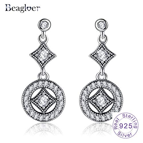 (925 Sterling Silver Vintage Allure Drop Earrings with Clear Cz for Women Trendy Jewelry Gift Pser0064-b )