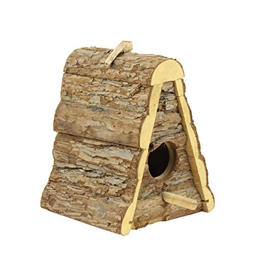 Bird Nesting Box (Gardirect Wild Bird House, Natural Wooden Triangle Bird Nesting Box)