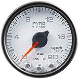 Auto Meter P31012 Gauge, Pyro. (Egt), 2 1/16'', 2000ºf, Stepper Motor W/Peak & Warn, Wht/Blk, Spek-Pro