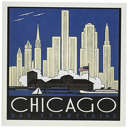 3dRose Print of Chicago Skyline Poster in Art Deco Style Greeting Cards, 6 x 6 Inches, Set of 6 (gc_182395_1)