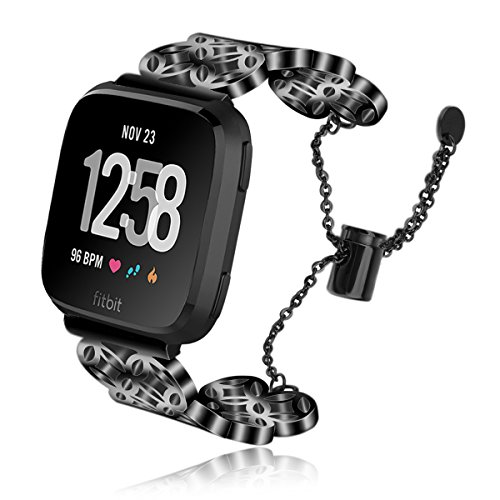 VIGOSS Metal Bracelet Compatible with Fitbit Versa Band Black Luxury Versa Bands Light Jewelry Polished Hollow Stainless Steel Bangle Strap for Fitbit Versa Smartwatch Men Women (Window grillle)