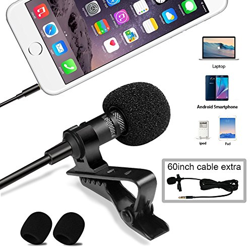 UMITOM Lavalier Lapel Microphone Wireless Lavalier Microphone 3.5 mm Omnidirectional Condenser Mic Professional Clip-on System Lapel Microphone for Recording,Youtube,Interview,Video,Conference,Podcast (Pro Go Recorder Head Camera Video)
